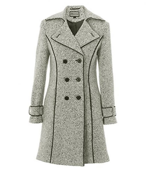 Womens Double Breasted Tweed Coat