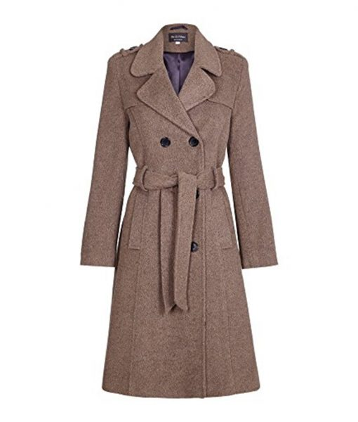 Womens Wool Belted Military Style Tweed Coat