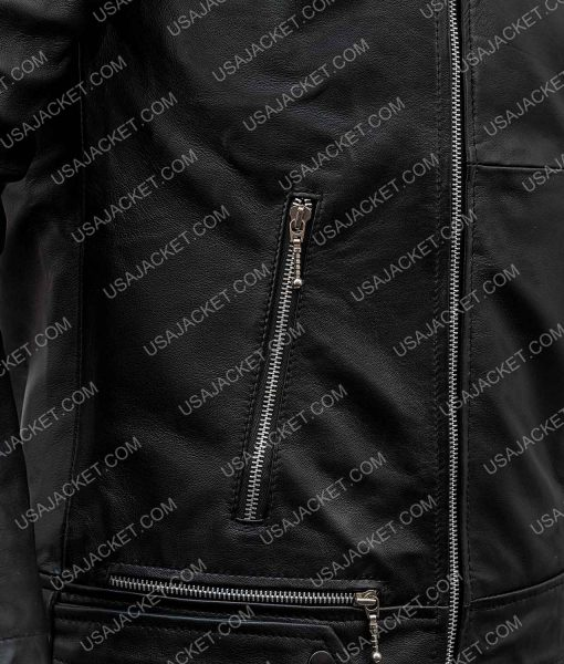 Aaron Paul Black Leather Quilted Motorcycle Jacket