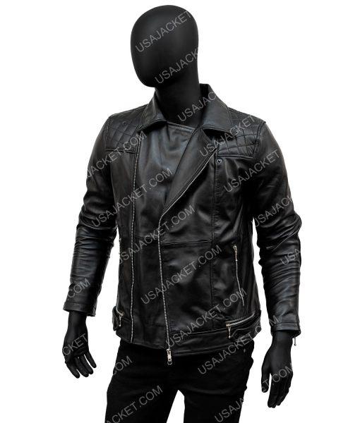 Aaron Paul Black Leather Moto Jacket