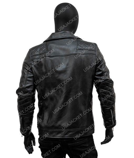 Aaron Paul Black Leather Quilted Biker Jacket