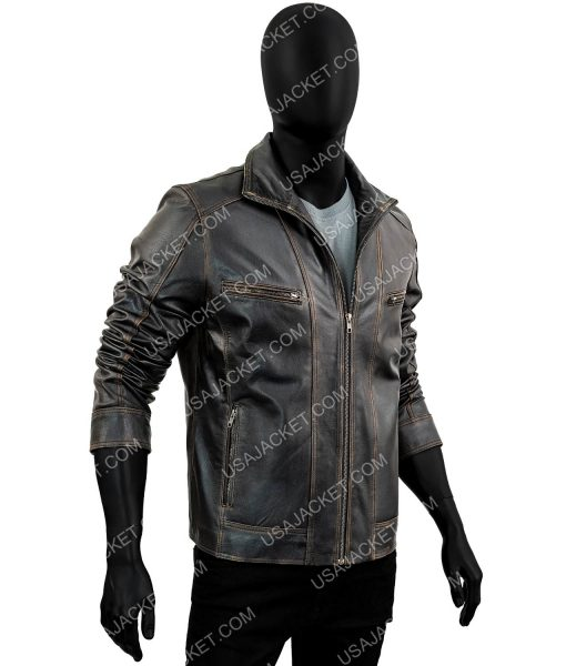 Black Leather Rivet Moto Jacket