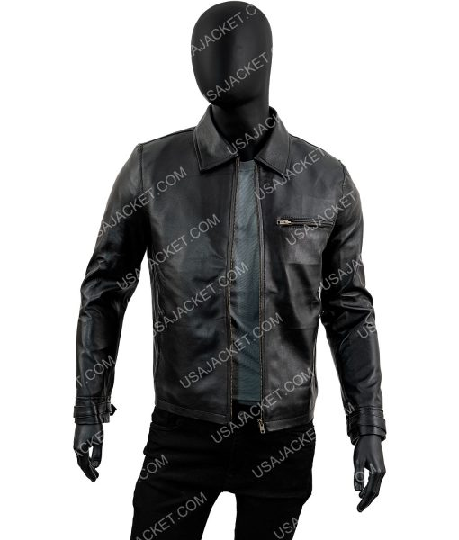 Black Slimfit Daniel Craig Leather Jacket