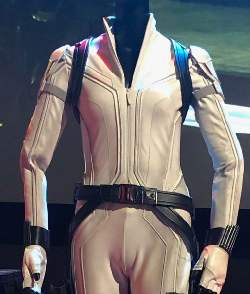 Black Widow Scarlett Johansson White Leather Jacket