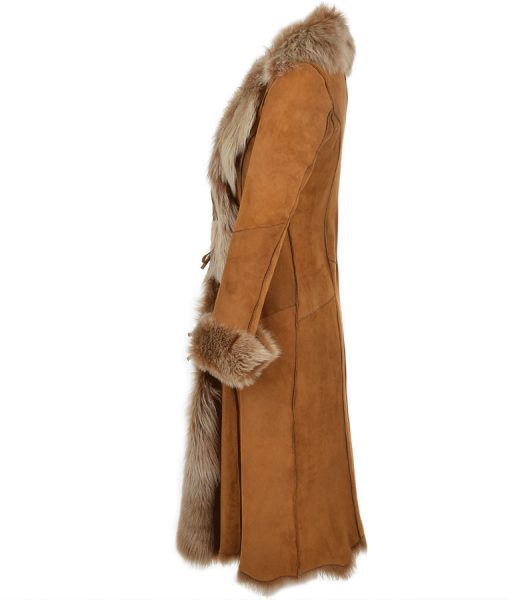 Novah Brown Leather Long Coat