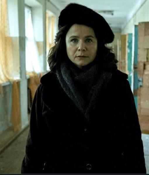 Chernobyl Emily Watson Brown Shearling Coat