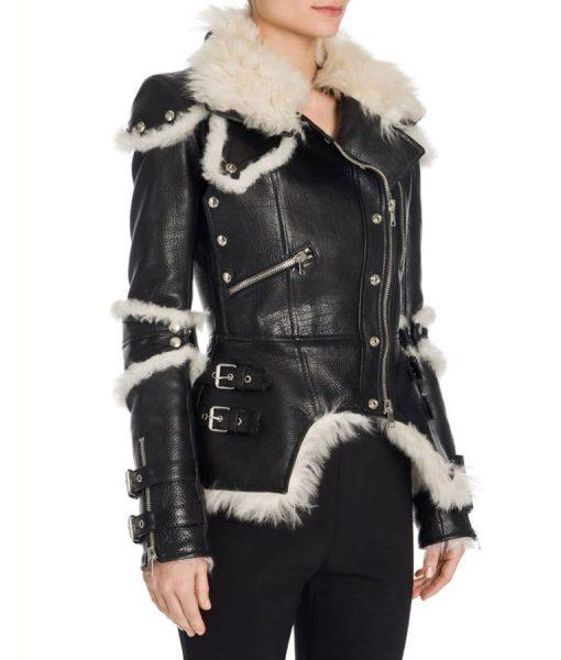 Womens Black Leather Biker Jacket
