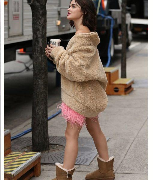 Lucy Hale Brown Katy Keene Sherpa Oversize Jacket