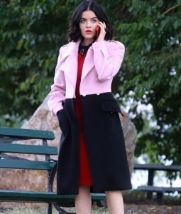 Pink and Black Lucy Hale Trench Coat