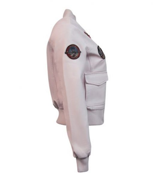 Light Pink Top Gun Vegan Leather Jacket