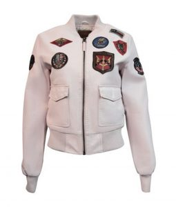 Light Pink Womens Top Gun Vegan Leather Jacket With Patches