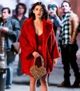 Lucy Hale Red Fur Coat