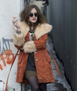 MR Robot Carly Chaikin Suede Leather Shearling Coat