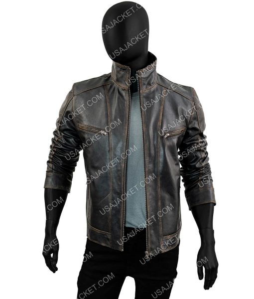 Mens Black Cowhide Leather Moto Jacket