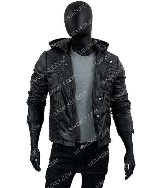 Mortal Instruments Jace Wayland Black Leather Hooded Jacket