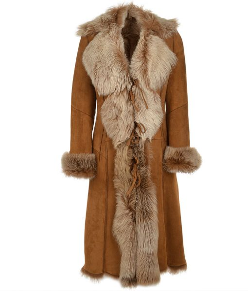 Novah Suede Leather Fur Long Coat