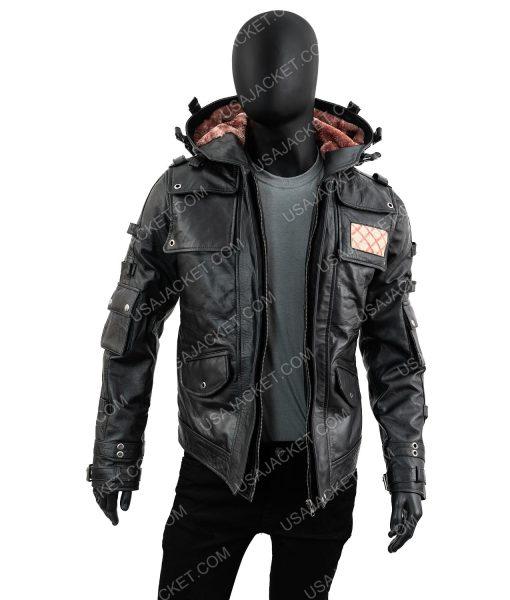 PUBG Black Leather Jacket With Hood