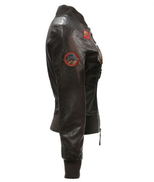 Top Gun Womens Vegan Leather Bomber Jacket