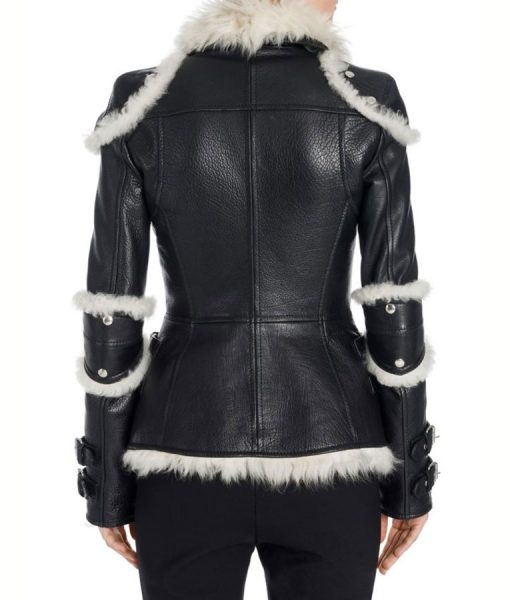 Elisa Black Shearling Leather Jacket