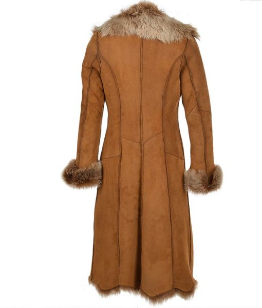 Brown Suede Leather Novah Long Coat