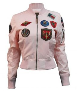 Womens bomber Top Gun MA-1 Jacket With Patches