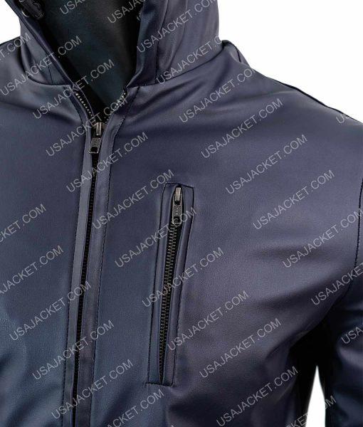 Mens Slimfit Blue Leather Jacket
