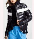 Amanda ZhouSpinning Out Black Striped Bomber Jacket