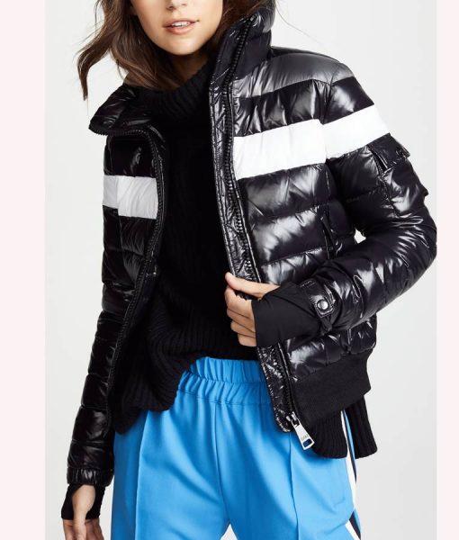 Spinning Out Black Striped Jenn Yu Puffer Jacket