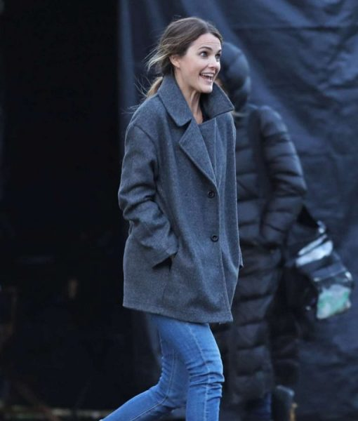 Julia Meadows Grey Wool-blend Antlers Keri Russell Coat