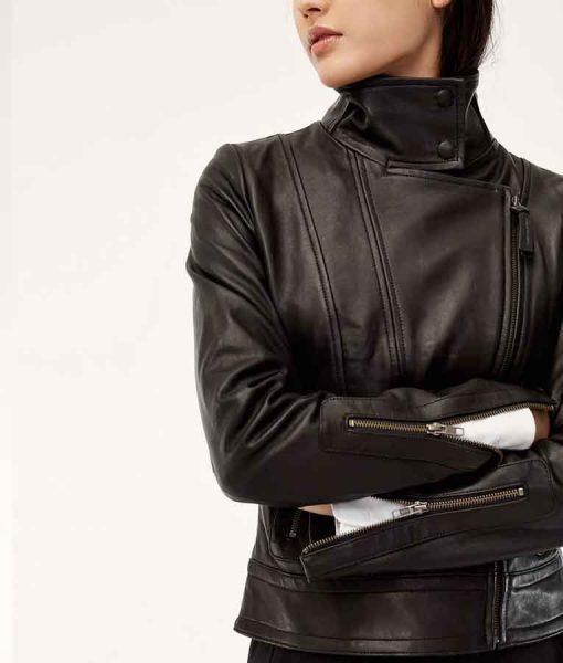 Arrow Season 08 Caity Lotz Black Leather Jacket