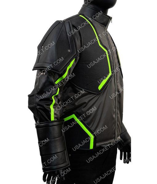 Bane Injustice 2 Padded Epaulets Leather Jacket