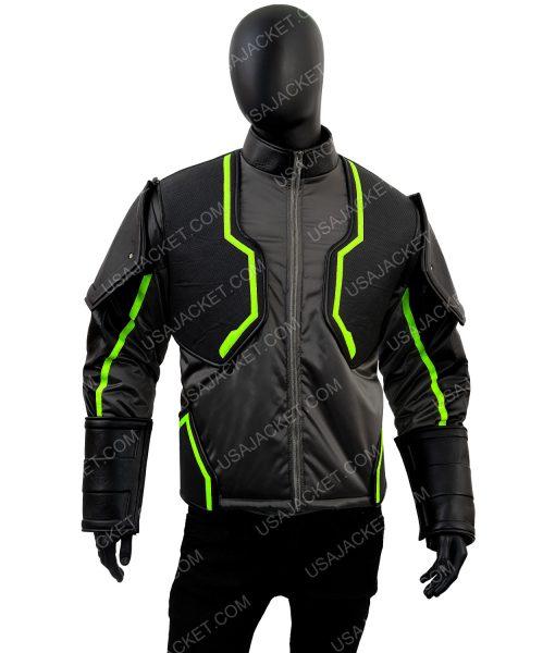 Bane Injustice 2 Padded Epaulets Black Leather Jacket