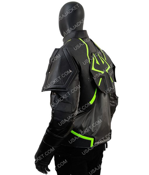 Bane Injustice 2 Padded Epaulets Black and Green Leather Jacket