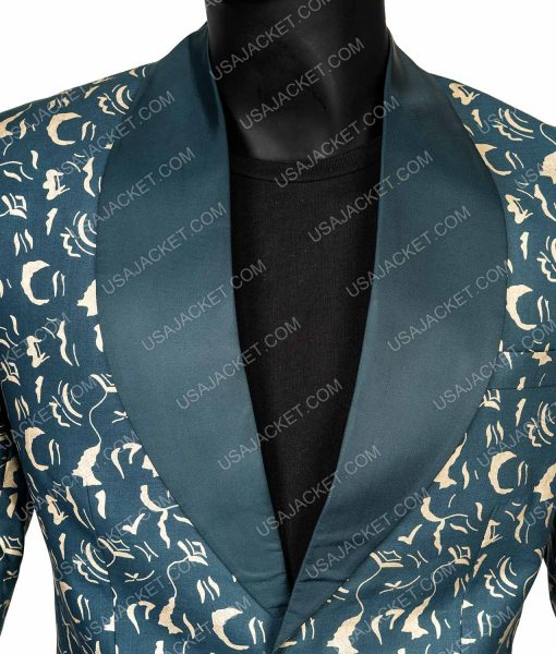 black mask printed suit