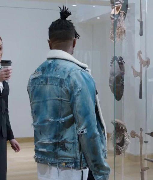 Black Panther Blue Shearling Erik Killmonger Denim Jacket