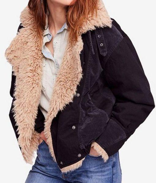 Black Sherpa Taylor Swift Bomber Jacket