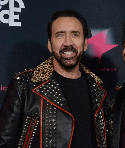 Color Out Of Space Black and Red Leather Nicolas Cage Jacket
