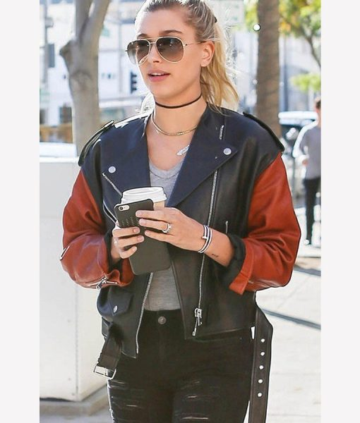 Hailey Baldwin Motorcycle Leather Belted Jacket