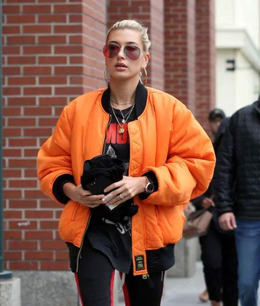 Hailey Baldwin bomber jacket
