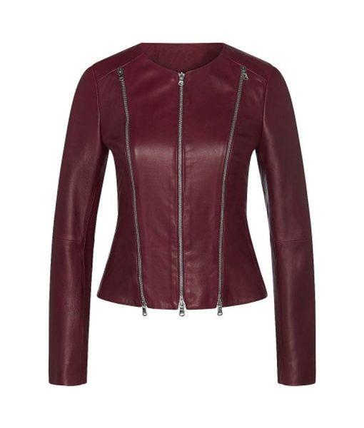 Leilani The Lovebirds Maroon Leather Jacket