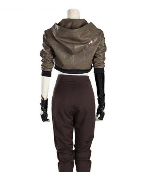 Love, Death and Robots Sonnie Brown Leather Cropped Jacket With Hood