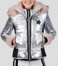 Mandy Davis Silver and Pink Fur Spinning Out Jacket with Hood