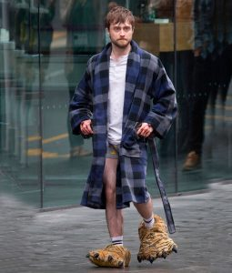 Daniel Radcliffe Miles Guns Akimbo Long Checkered Coat
