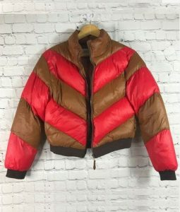 Willow Shields Red and Tan Spinning Out Cropped Puffer Jacket