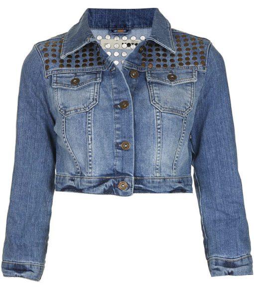 Jenn Yu Stud Denim Cropped Jacket