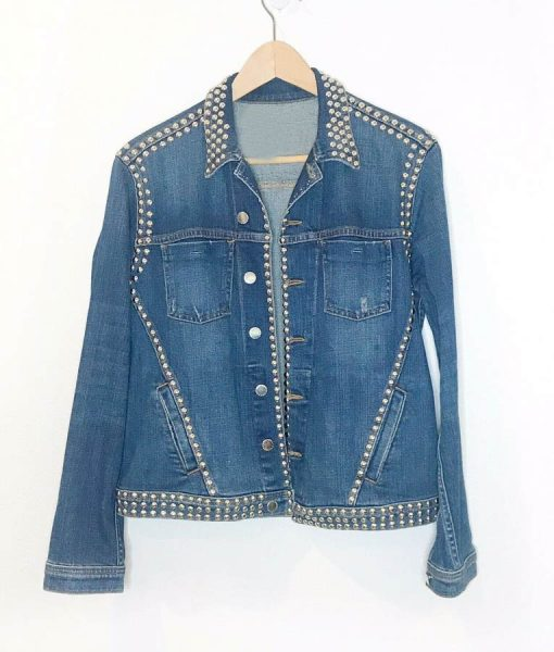 Spinning Out Amanda Zhou Studded Slimfit Denim Jacket