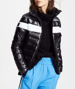Spinning Out Black and White Puffer Bomber Jacket