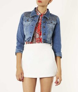 Spinning Out Amanda Zhou Blue Denim Stud Cropped Jacket