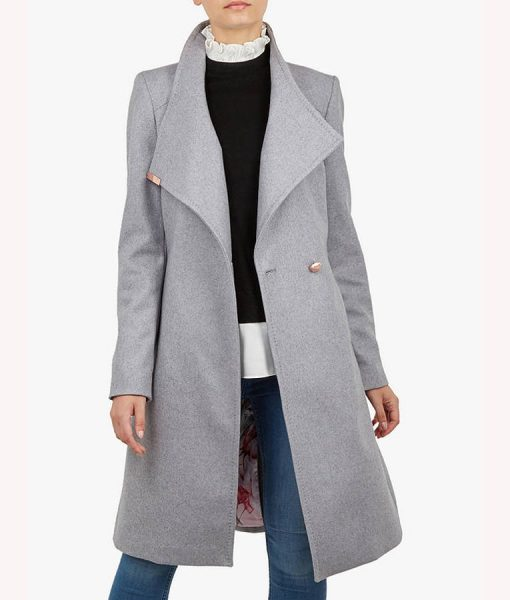 Spinning Out Mandy Davis Grey Wrap Coat