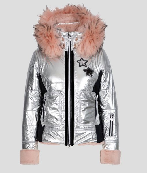 Mandy Davis Silver and Pink Fur Spinning Out Puffer Jacket